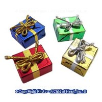 § Disc .80¢ Off - 6 Flat Dollhouse Foil Wrapped Gifts - Product Image