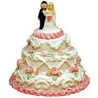§ Sale $1.50 Off - Small Wedding Cake w/ Bride & Groom - Product Image