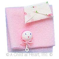 § Disc .60¢ Off - Dollhouse Baby Blanket & Rattle Set - Product Image