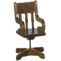 Small Walnut Dollhouse Office Chair - Product Image