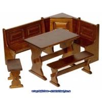 Dollhouse Walnut Kitchen Nook - Product Image