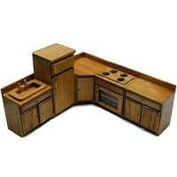 Dollhouse 5 pc Economy Kitchen Cabinet Set - Product Image
