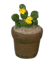Dollhouse Patio Potted Cactus - Yellow Flowers - Product Image
