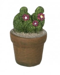 Dollhouse Patio Potted Cactus - Purple Flowers - Product Image