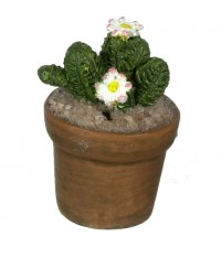 Dollhouse Patio Potted Cactus - White Flowers - Product Image