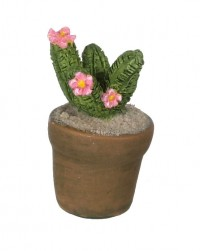 Dollhouse Patio Potted Cactus - Pink Flowers - Product Image