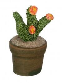 Dollhouse Patio Potted Cactus - Orange Flowers - Product Image