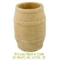 Dollhouse Medium Wood Barrel - Product Image