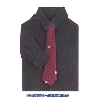 (§) Sale .50¢ Off - Man's Shirt Black w/ Red Tie - Product Image