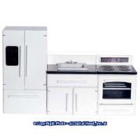 3 pc White Modern Dollhouse Appliance Set - Product Image