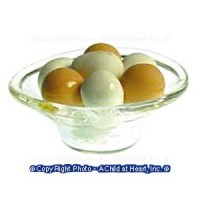 Dollhouse Bowl of Brown & White Eggs - Product Image