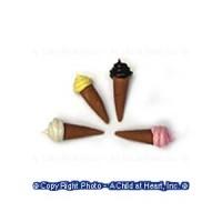 § Disc .60¢ Off - 4 Soft Ice Cream in Chocolate Cones - Product Image