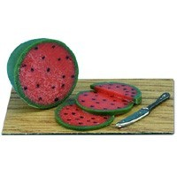 Dollhouse Sliced Watermelon is on a Cutting Board - Product Image