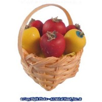 Dollhouse Basket of Fresh Apples or Peppers - Product Image