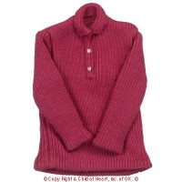 § Disc $1 Off - Long Sleeve Polo Shirt - Red - Product Image