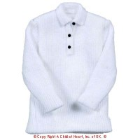 § Disc $2 Off - Long Sleeve Polo Shirt - White - Product Image