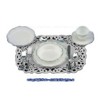 Place Setting Silver Trim (10 pc) - Product Image