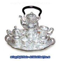 Dollhouse 6 pc Elegant Silver Coffee Set - Product Image