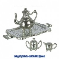 § Sale .60¢ Off - Dollhouse Silver Tea Set - Product Image