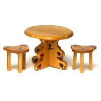 (*) Dollhouse Bear Table & Stools - Product Image