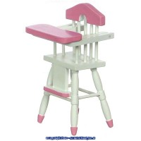 Dollhouse Highchair Pink or Yellow & White - Product Image