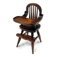 Dollhouse Walnut Spindle Highchair - Product Image
