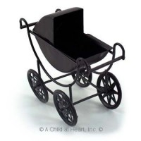 Black Dollhouse Baby Carriage - Product Image