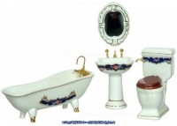 § Disc $10 Off - Blue & Gold Porcelain Bath Set - Product Image