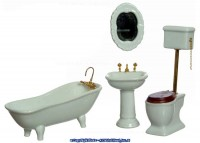 § Sale $5 Off - Dollhouse Top Flush Bath Set, White - Product Image