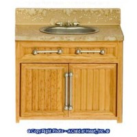 (§) Sale $2 Off - Dollhouse Modern Oak & Marble Sink - Product Image