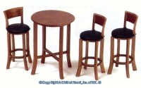 Dollhouse Tall Black Leather & Table - Product Image