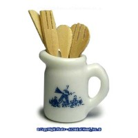 (§) Sale .50¢ Off - Delft Pitcher w/ Wood Utensils - Product Image