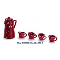 § Sale $1 Off - Dollhouse Spatter Coffee Set - Red - Product Image