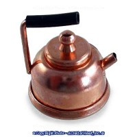Dollhouse Copper or Silver Tea Kettle - Product Image