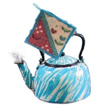 Dollhouse Decorated Tea Kettle & Pot Holder - Product Image