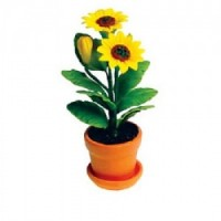 Dollhouse Sun Flowers in Clay Pot - Product Image