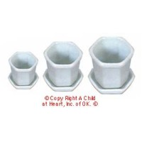 § Disc $2 Off - Dollhouse White Octagon Flower Pots - Product Image