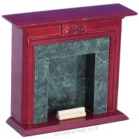 Dollhouse Mahogany Fireplace with Marble - Product Image
