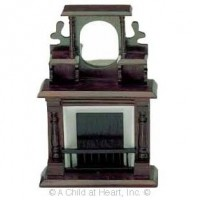 Victorian Mahogany Dollhouse Fireplace - Product Image