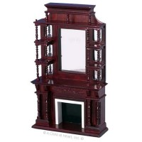 Dollhouse Tall Victorian Mahogany Fireplace - Product Image