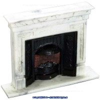§ Sale $4 Off - Dollhouse White Marble-Look Fireplace - Product Image