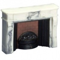 Dollhouse Large White Marble-Look Fireplace - Product Image