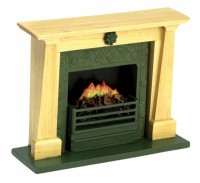 Sale $2 Off - Dollhouse Oak Fireplace with Insert - Product Image