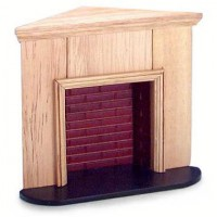 Dollhouse Corner Oak Fireplace - Product Image