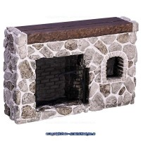 Dollhouse Fieldstone Colonial Walk-in Fireplace - Product Image