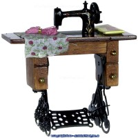 (*) Dollhouse Walnut Sewing Machine with Fabric - Product Image