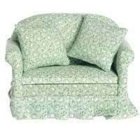 Dollhouse Green Floral Sofa - Product Image