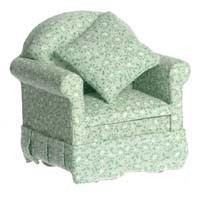 Dollhouse Green Floral Chair - Product Image