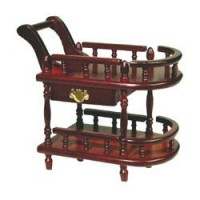 Dollhouse Mahogany Stationary Teacart - Product Image