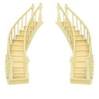 Dollhouse Curved Staircase Double Rail - Product Image